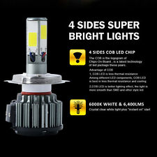 6400LM 60W Motorcycle Bike 4 Sides LED Headlight H4 9003 HB2 Hi/Lo 6000K Bulb X1