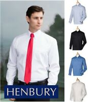 Henbury - Long Sleeve Pinpoint Oxford Shirt - Easy Care Fabric - SIZES 14.5-22