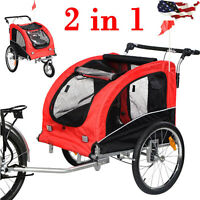 2 IN 1 Pet Dog Cat Bike Trailer Bicycle Trailer Stroller Jogging w/ Suspension