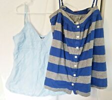 Set of VICTORIAS SECRET PINK PACIFIC GIRL Womens SHIRTS Camis Blues Straps TOPS