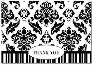 Black White Damask Wedding Thank You Notes 50/pk