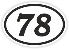 78 SEVENTY-EIGHT NUMBER OVAL STICKER bumper decal motocross motorcycle Aufkleber