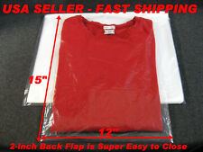 "100 LOT - 12x15 CLEAR POLY PLASTIC BAGS WITH 2"" BACK FLAP T- SHIRT / DRESS SHIRT"