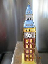 BIG BEN TOWER  BEJEWELED ENAMEL TRINKET BOX  ENCRUSTED WITH  CRYSTALS  4132