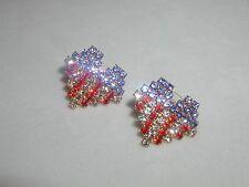 Heart Earrings Austrian Crystal Usa Flag Vfw Valentine Memorial Labor Day July 4