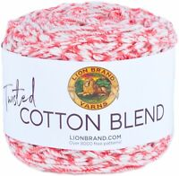 Lion Brand Twisted Cotton Blend Yarn-Coral/Ecru