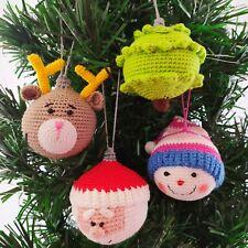 Set of 4 Crochet Christmas Balls Ornaments Handmade Christmas Tree Decorations