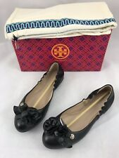 Tory Burch 32458 Blossom Ballerina Ballet Flats 7944 Black Leather Size 7