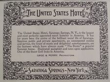 The United States Hotel Saratoga Springs New York Leslie's Weekly 1898