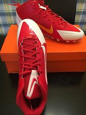 New Size 13.5 Nike Alpha Pro 3/4 TD PF Football Cleats Red White Gold Free Ship