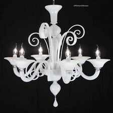 Chandelier glass murano 1008/6 Bianco - Mount Chrome