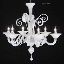 Lampadario in Vetro di murano 1008/6 Bianco - Montatura Cromo