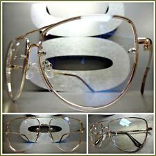 Men's or Women VINTAGE RETRO Style Clear Lens EYE GLASSES Rose Gold Metal Frame