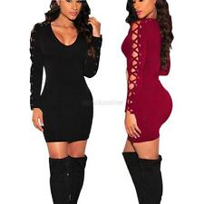 Sexy Women Lace-up Bodycon Bandage Long Sleeve Evening Party Cocktail Club Dress
