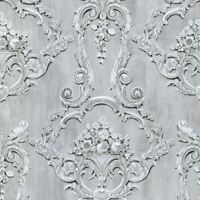 GROSVENOR 3D FLORAL DAMASK WALLPAPER GREY DEBONA 6217 - FEATURE WALL NEW