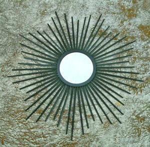 "Jet Black metal Sunburst Mirror Wall Art Home Decor 24"" wide"