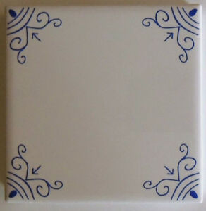 White Wall Tiles with Blue Ox Tail Delft Style design
