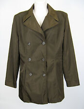 NiC New York Rain Coat Jacket Women Size 8 Brown Double Breasted 6 Button Nylon