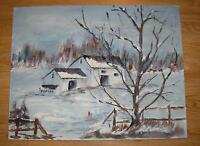 VINTAGE MINIMALIST FOLK ART WINTER SNOW WHITE HOUSE LANDSCAPE TREES OIL PAINTING
