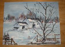 VINTAGE MINIMALIST FOLK ART WINTER SNOW WHITE HOUSE LANDSCAPE TREES OIL PAINTING