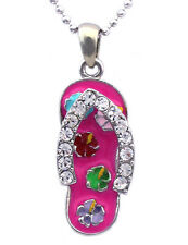 Pink Flip Flop Flower Beach Sandal Pendant Necklace Girl Women Jewelry n2005