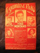Partition Le gamin d'Paris Yves Montand Francis Linel Lancel 1951 Music Sheet