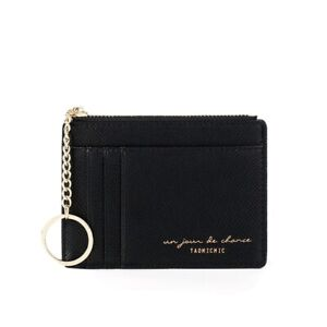 Black Leather Card Case Holder Zipper Coin Purse Wallet with Gold Keychain