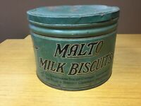 "VIntage MALTO MILK BISCUITS 9"" x 12"" Dia. Tin w/Lid (MAR22)"