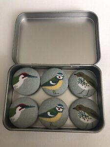 Handmade Fabric Button Magnets In Sophie Allport Garden Birds Fabric