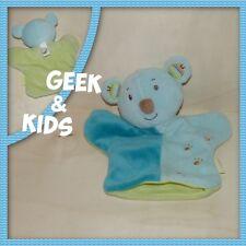 Marionnette - Doudou Plat ZEN - Ours - Koala Bleu et vert - Ref C39