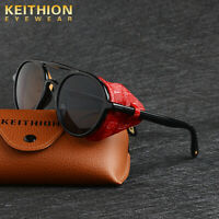 KEITHION Unisex Polarized Steampunk Sunglasses Round Vintage Retro Eyewear UV400