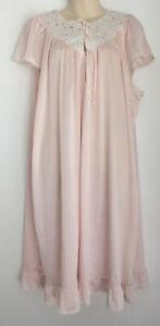 Vintage Diamond Cut Pink 100% Nylon Lace Embroidered Nightdress Nightie BNWT 24