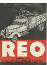REO 1A4 AND 1C4 TRUCK, VAN  MODELS SALES BROCHURE 1930's DUTCH LANGUAGE