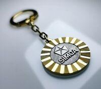 Original 1969 SIMCA Lüfterrad Anhänger Diamantschliff Metall Schlüsselanhänger