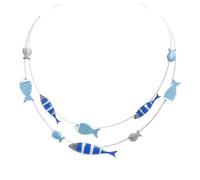 NECKLACE LOLILOTA FRENCH JEWELRY - Multi rows Fish blue MOTHER'S DAY MUST