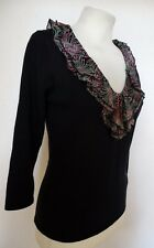 JAEGER Black Sweater Jumper Top w Pink & Green Frill Neckline S 8-10 Silk Blend