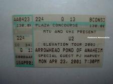 U2 Concert Ticket Stub ANAHEIM ARROWHEAD Elevation Tour 2001 MTV Bono PJ HARVEY