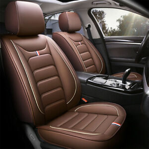 Brown Car Seat Covers PU Leather Front Rear Full Set Car Seat Cushion 5 Seats