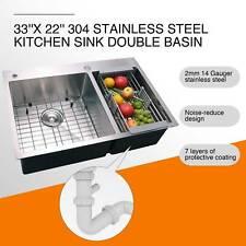 "Dual Basin Stainless Steel Kitchen Sink Top Mount 14 Gauges 33"" x 22"" x 9"""