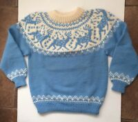 DALE  OF NORWAY Light Blue And White Wool Sweater  Unisex Size L 42EU