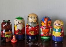Euc Lot 5 Sets Nesting Dolls Matryoshka - Russian Fairy Tales - Repka, Kolobok