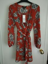 Size 8 Lipsy Mock Wrap Rust Coloured Floral Dress