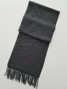"""Polo Ralph Lauren Mens Gray Cashmere Wool 70"""" x 10"""" Scarf NWOT"""