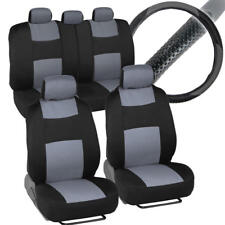 Front & Rear Polyester Car Seat Covers + PU Leather Steering Wheel Cover Gray
