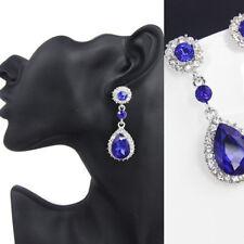 EG_luxuriös Damen Silber plattierter Kristall Ohrhänger Ohrstecker Ohrring