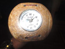 MW.A165M: VINTAGE COCONUT SHELL WATCH ON ASH WOOD WALKING STICK CANE - WORKING