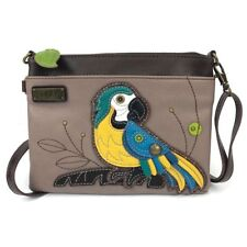NEW CHALA COLORFUL PARROT MINI CROSSBODY CELL PHONE PURSE ADJUSTABLE STRAP GRAY