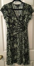 Connected Apparel Green/Black Dress with Waist Ribbon Accent, size 10P (petite)