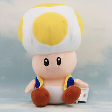 """Super Mario Plush Teddy - Yellow Toad Soft Toy - Size: 7"""" / 17.5cm - NEW"""