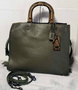 Coach 1941 Rogue 36 Colorblock Python Snakeskin Olive army green Black copper HF